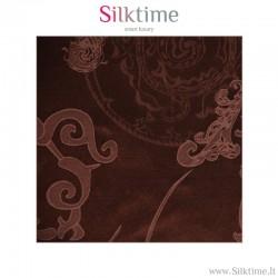 Fabric, silk-cotton jacquard, brown