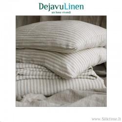 Natural striped softened linen bedding set
