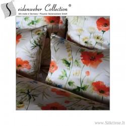 Silk print pillow cases POPPIES