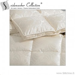 Warm Siberian goose down comforter with silk cover, winter duvet