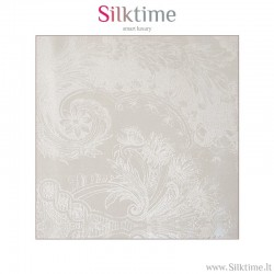 100% silk jacquard fabric with floral baroque pattern, white