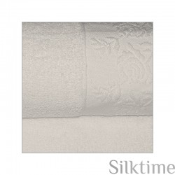 "Cotton towels ""Roses"", greyish"