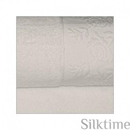 "Cotton towels ""Roses"", greyish"