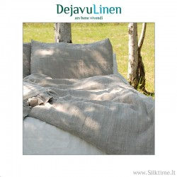 Natural grey softened linen bedding set