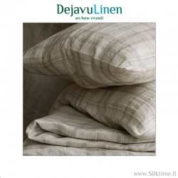 Комплект постельного белья из льна, неокрашенный клетчатый
