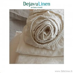 Natural dye-free softened linen fitted sheets