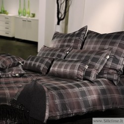 Set of silk jacquard duvet cover and pillow case GILL