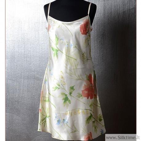 Silk nightgown Poppy field with spaghetti straps