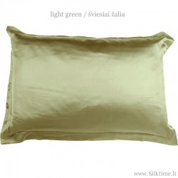 Natural silk pillow case, Oxford style, green color