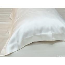 Oxford style natural silk pillow cases PURE WHITE