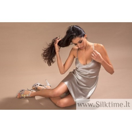 Silk nightgown Clery pura seta, light grey