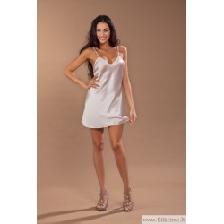 Silk nightgown Clery mini pura seta, light grey