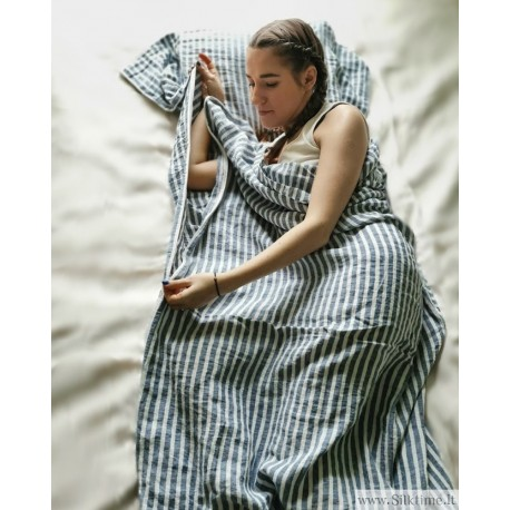 Compact Linen Sleeping Sack, softened, blue striped