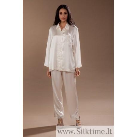 Silk pajama with lace CLOUDE